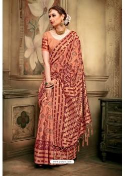 Light Orange Cotton Silk Casual Saree