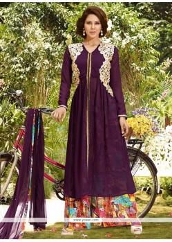 Astounding Faux Chiffon Designer Palazzo Salwar Suit