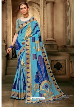 Sky Blue Cotton Silk Casual Saree