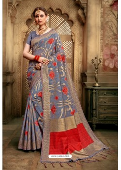 Decent Grey Cotton Silk Casual Saree