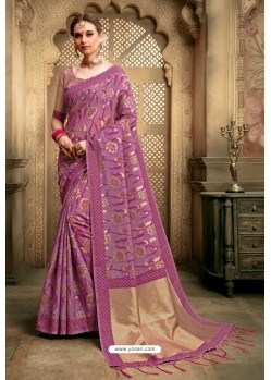Medium Violet Cotton Silk Casual Saree