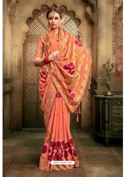 Orange Cotton Silk Casual Saree
