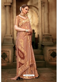 Light Brown Cotton Silk Casual Saree