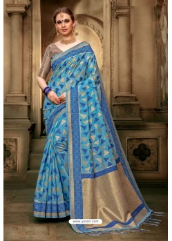 Blue Cotton Silk Casual Saree