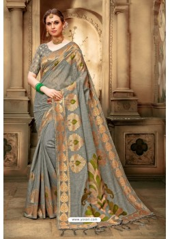 Taupe Cotton Silk Casual Saree