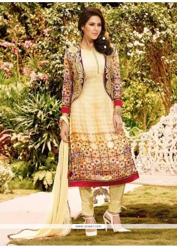 Classical Georgette Print Work Jacket Style Salwar Kameez