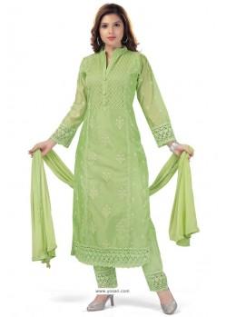 Green Chanderi Resham Worked Straight Suit
