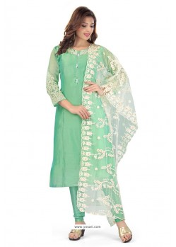 Jade Green Chanderi Resham Worked Churidar Suit