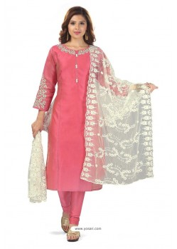 Hot Pink Chanderi Resham Worked Churidar Suit