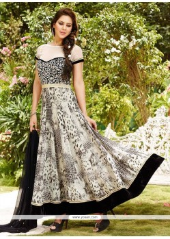 Classical Black And White Print Work Georgette Anarkali Salwar Kameez