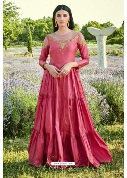 Crimson Fancy Silk Readymade Long Kurti