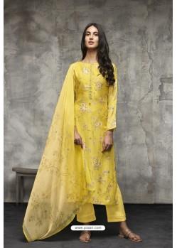 Yellow Lawn Cotton Designer Straight Suit