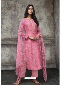 Light Pink Lawn Cotton Designer Straight Suit