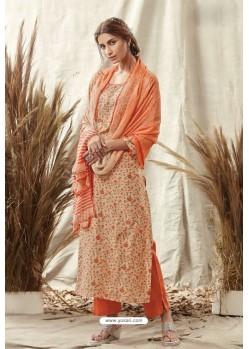Orange Afta Silk Designer Straight Suit