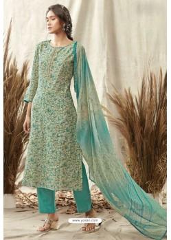 Aqua Mint Afta Silk Designer Straight Suit