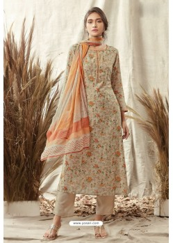 Light Beige Afta Silk Designer Straight Suit