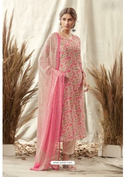 Dusty Pink Afta Silk Designer Straight Suit