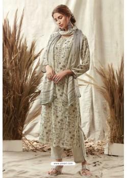 Grayish Green Afta Silk Designer Straight Suit