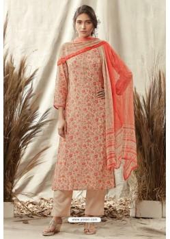 Beige And Red Afta Silk Designer Straight Suit
