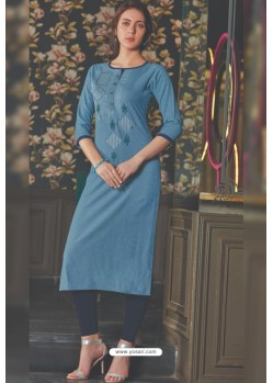Blue Rayon Embroidered Kurti