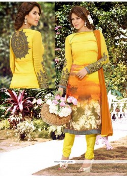Incredible Georgette Yellow Print Work Churidar Salwar Suit