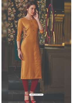 Brown Rayon Embroidered Kurti