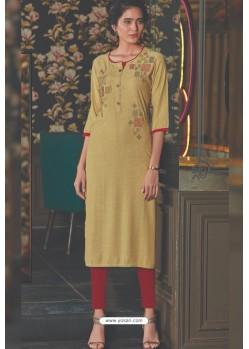 Khaki Rayon Embroidered Kurti