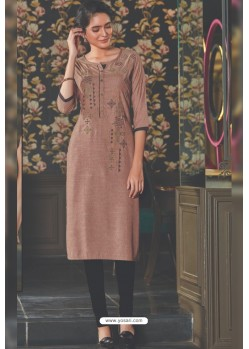 Light Brown Rayon Embroidered Kurti