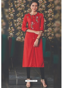 Red Rayon Embroidered Kurti