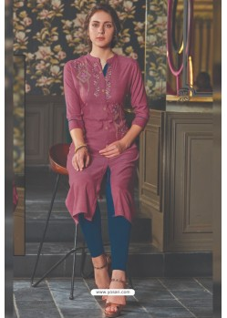 Deep Wine Rayon Embroidered Kurti