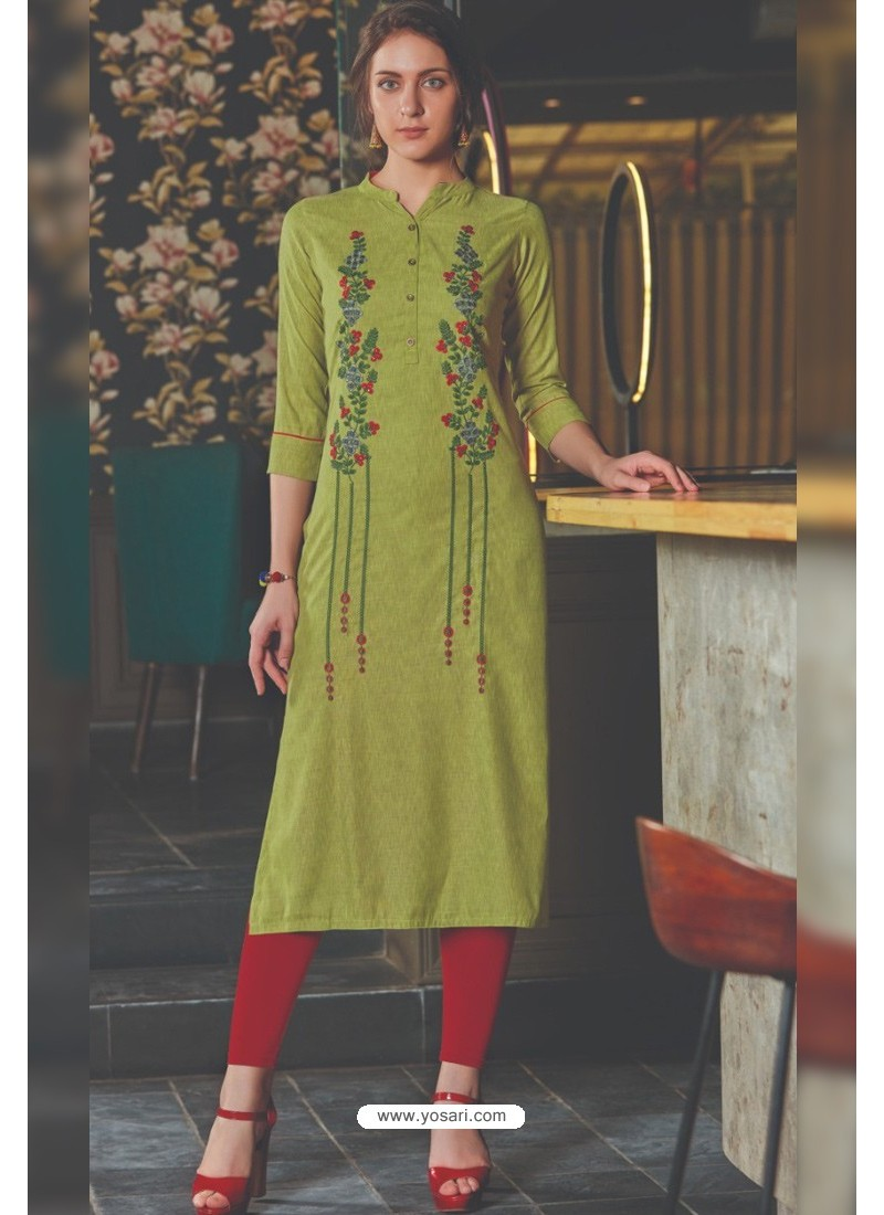 Green Rayon Embroidered Kurti