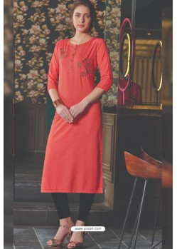 Dark Peach Rayon Embroidered Kurti