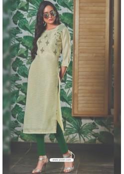 Sea Green Chanderi Silk Readymade Kurti