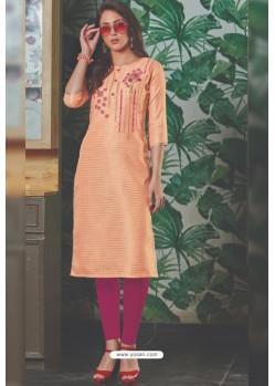 Light Orange Chanderi Silk Readymade Kurti