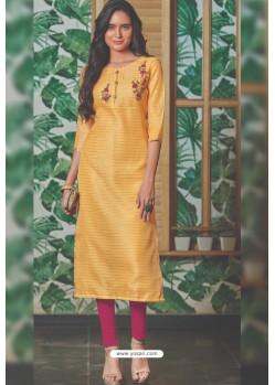 Yellow Chanderi Silk Readymade Kurti
