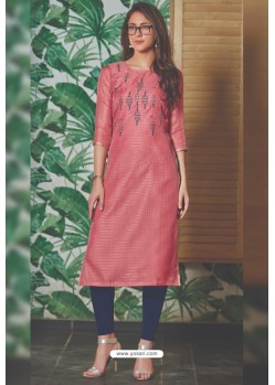 Hot Pink Chanderi Silk Readymade Kurti