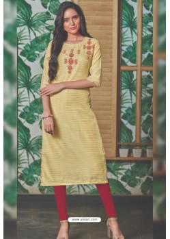Light Yellow Chanderi Silk Readymade Kurti