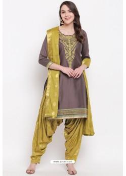 Coffee And Green Jam Silk Cotton Salwar Suit