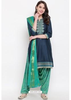 Navy And Mint Jam Silk Cotton Salwar Suit