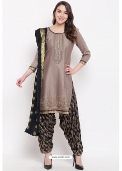 Light Brown Jam Silk Cotton Salwar Suit