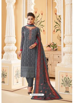 Dull Grey Heavy Faux Georgette Straight Suit
