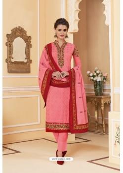 Light Pink Heavy Faux Georgette Straight Suit