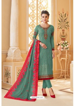 Grayish Green Heavy Faux Georgette Straight Suit