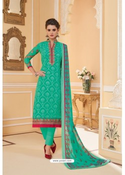 Jade Green Heavy Faux Georgette Straight Suit
