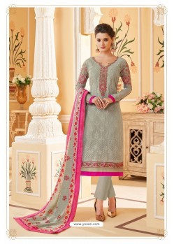 Light Grey Heavy Faux Georgette Straight Suit