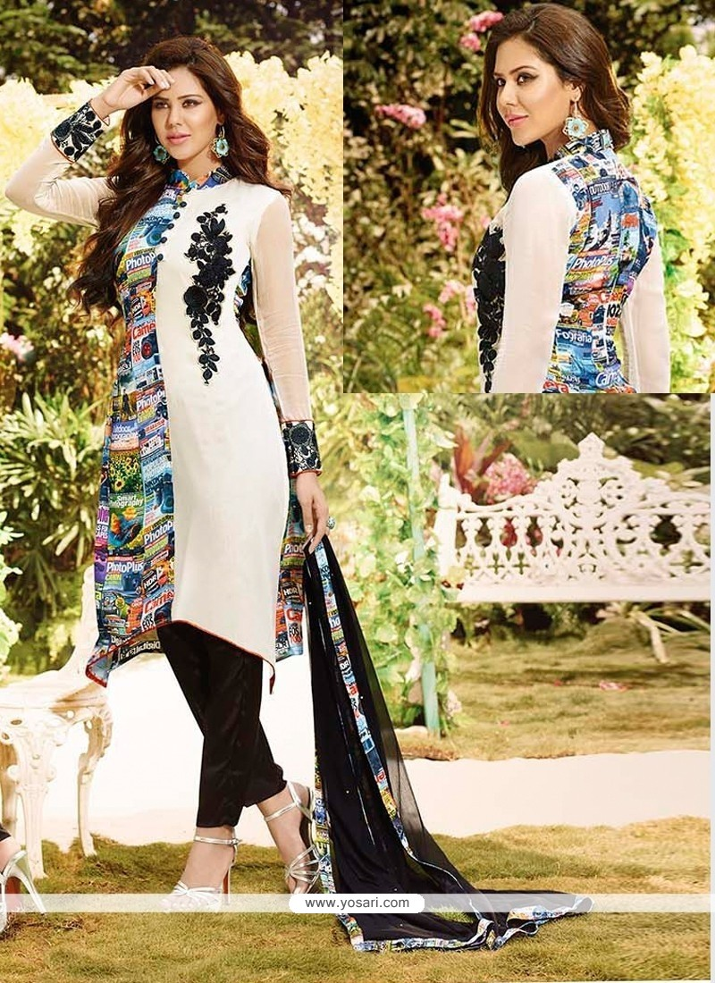 Stylish Print Work Satin Churidar Salwar Kameez