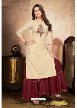 Cream Mal Cotton Embroidered Kurti And Palazzo
