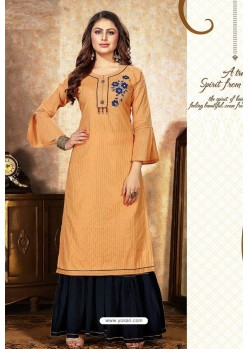 Mustard Mal Cotton Embroidered Kurti And Palazzo