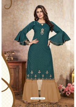 Teal Mal Cotton Embroidered Kurti And Palazzo
