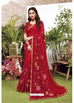 Red Satin Georgette Party Wear Designer Saree